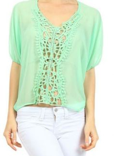 Mint Chiffon Top with Crocheted Detail #mint #chiffon #top #crochet #detail #ustrendy