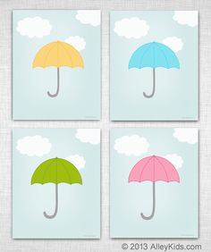 Free Printable, perfect for spring, featuring an umbrella and clouds. Use as nursery art, childrens art or for a baby shower. Available in 4 colors.