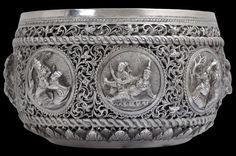 Pierced & Repoussed Silver Bowl, Moulmein-Style Burma circa 1890