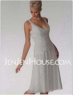 Bridesmaid Dresses - $84.99 - A-Line/Princess V-neck Knee-Length Chiffon Bridesmaid Dresses With Ruffle (007001083) http://jenjenhouse.com/A-line-Princess-V-neck-Knee-length-Chiffon-Bridesmaid-Dresses-With-Ruffle-007001083-g1083