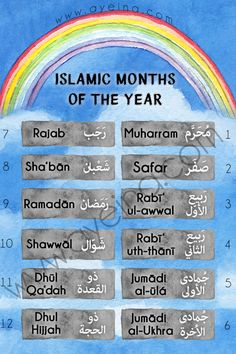 islamic months of the year free printable poster - watercolor sky and rainbow for kids (arabic and english)