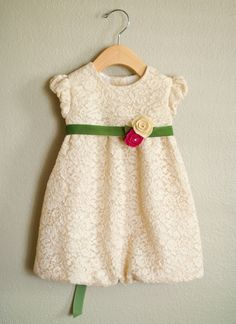 gorgeous lace Christmas dress - oliver + s bubble dress sewn by a stitch a day