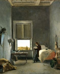The Artist in his Room at the Villa Medici, Rome, Leon Cogniet. French (1794-1880)