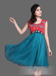Best Quality Split Joint Empire Waist  Chinese Style Dresses