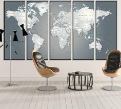 Extra Large World Map №883 Canvas Print