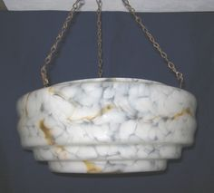 Art Deco vintage flake glass large hanging bowl lampshade / light shade - white with amber marbling (c.1930s) (SOLD Jun. 2010) - www.vanishederas.com