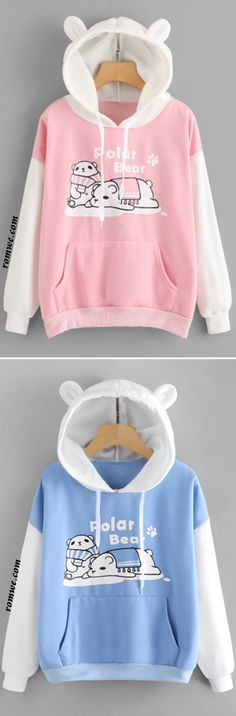 Polar Bear Print Kangaroo Pocket Hoodie