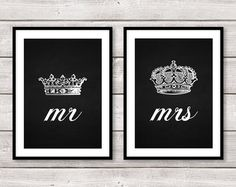 Set of Two 2 Mr and Mrs His Hers King Queen Crown A4 Prints Wall Art Home Decor Black White Chalkboard Love Wedding Anniversary Gift on Etsy, $30.75