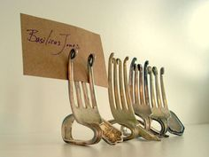 Fork place card holders.