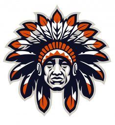 Indian chief head in sport mascot style   Premium Vector #Freepik #vector #school #hand #man #sport Native American Warrior, Native American Indians, Indian Head, Indian Art, Mascot Design, Logo Design, Identity Design, Brand Identity, Design Design