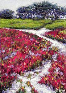 Carmel Paths II by Daggi Wallace Pastel ~ 14 x 10 Ice Plant, Paths, Carmel California, Ocean, Sky, Landscape, Travel, Paintings, Heaven