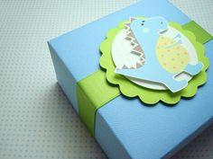 Baby Blue Dinosaur Favor Boxes, Set of Ten