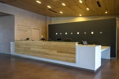 Reception desk - canadian museum for human rights spa reception area, recep Reception Table Design, Office Reception Area, Lobby Reception, Reception Counter, Receptionist Desk, Front Office, Front Desk, Counter Design, Dental Office Design