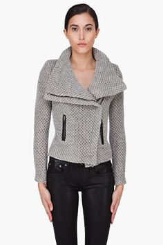Iro Grey Waffle Knit Kristen Jacket for women | SSENSE