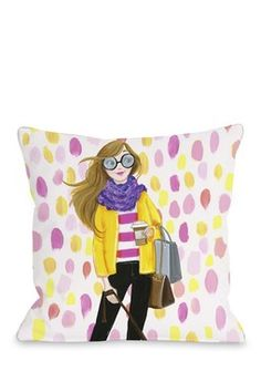 Love from NYC 6 Paintdots Girl Pillow - Multi