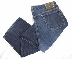 John Varvatos USA Jeans 38 Blue Button Fly Straight Leg Denim Authentic Fit $198 #JohnVarvatos #ClassicStraightLeg