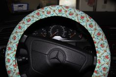Shabby Chic Steering Wheel Cover . Floral Wheel Cover. Aqua with Pink Flowers  Wheel Cover . by SouthernAplus on Etsy