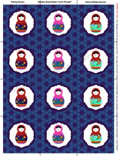 """Babushka Party Cupcake Circles    Mother Duck Said: """"Lets Party!"""": Babushka / Matryoshka Doll / Russian Doll Birthday Party"""