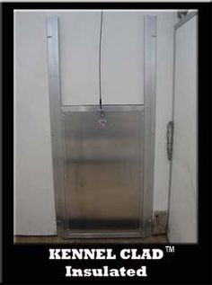 guillotine dog door... lockable for if you are away for a long time and you need to block in a swinging dog door.