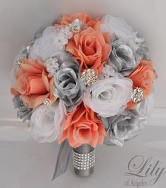 Wedding Bouquet Bridal Bouquet Bridesmaid Bouquet Silk Flower Bouquet Wedding Flowers Coral Silver 17 Piece Package Lily of Angeles Silk Flower Bouquets, Bride Bouquets, Flower Bouquet Wedding, Silk Flowers, Silk Bridal Bouquet, Bridesmaid Bouquets, Brooch Bouquets, Bridal Flowers, Cheap Wedding Flowers