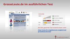 http://www.ihr-singleboersen-vergleich.de/grosseleute-de-test/ GrosseLeute.de bietet großen Menschen eine Community für Flirt, neue Freundschaften und auch Abenteuer. Dieses Portal ist für alle User komplett kostenlos.