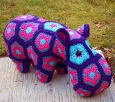 Custom handmade Happypotmus the Happy Hippo by Lineandloops