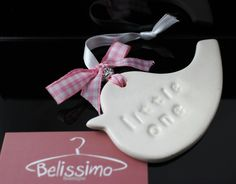 Baby ceramic gift token  handmade in the UK with ribbon tied & manufactured  in the last remaining ribbon factory left in the UK . http://www.belissimoboutique.co.uk/gift/ceramic-keepsakes.html