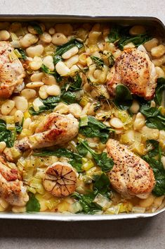 Tray-baked chicken with butter beans, leeks and spinach: Gordon Ramsay's one-pot makes light work of a roast Chicken And Leek Recipes, Pasta Recipes, Cooking Recipes, Healthy Recipes, Chicken Tray Bake Recipes, Budget Cooking, One Pot Meals, Main Meals, Sw Meals