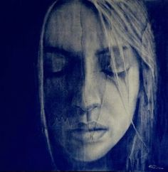 Tears - Pigments on wood by Matteo Pantano