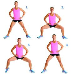 Moves That Target Cellulite: Plié Squat With Alternating Heel Raise - Stand with feet about 3 feet apart, toes pointed out. Lower down until thighs are nearly parallel to the floor. Push yourself back up to standing. That's one rep. Do 15 reps. Repeat the same move, but raise the right heel as you lower down. Do 15 reps. Repeat the same move, but raise your left heel as you lower your body down. Do 15 reps.