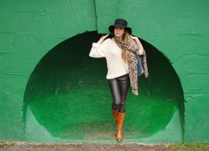 Floppy Hat, Leather Trousers, Brown Knee-High Boots, Leopard Print Scarf, Blonde Hair, Green Wall, Foxtail, Blog Style, Whisty