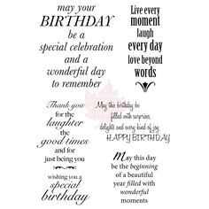 Woodware Clear Stamp Set - Delightful Verse - Overstock™ Shopping - Big Discounts on Clear Cling Stamps Birthday Verses For Cards, Birthday Card Sayings, Birthday Sentiments, Birthday Messages, Birthday Quotes, Birthday Cards, Birthday Wishes, Happy Birthday, Birthday Greetings