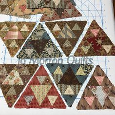 Scrappy Pyramids!  I think they will blend in with the 3 fabric blocks. Now marking and cutting a bunch more pieces, LPT (long term project) for me.  No hurry, enjoying the journey. 😁 #Panama Pyramids Sew-along 2016. #scrappy quilts