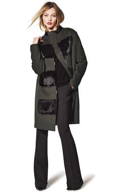 Elie Tahari Hillary Coat with Fur Panels & Bailee Flare-Leg Pants