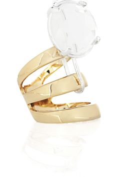 MAISON MARTIN MARGIELA  Brass and glass crystal ring