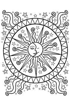 Coloring pages mandala, colouring, coloring sheets, coloring books, printab Sun Coloring Pages, Printable Adult Coloring Pages, Mandala Coloring Pages, Coloring Books, Coloring Sheets, Coloring Pages For Adults, Mandala Design, Mandala Art, Easy Mandala