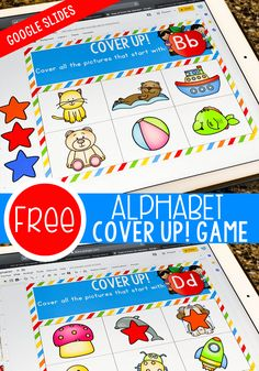 Free Alphabet Game for Google Slides. Perfect for introducing preschoolers and kindergarteners to beginning sounds! #distancelearning #athomelearning #lifeovercs #freealphabetactivity Alphabet Games For Kindergarten, Preschool Literacy, Alphabet Activities, Kindergarten Activities, Classroom Activities, Baby Activities, Literacy Centers, Teaching Letter Recognition, Teaching Letters