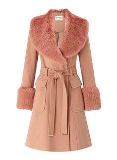 Faux Fur Cuff And Collar Coat