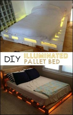 Some pallets, a mattress, a couple of lights and voila! Easy as 1-2-3! Do you want an awesome pallet bed in your bedroom?