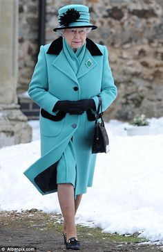 Big freeze will last at least 4 more days: Chaos on roads, rail and runways to get worse as snow returns The Queen and Prince Philip brave the cold to attend church at Castle Rising on the Sandringham Estate in Norfolk today God Save The Queen, Hm The Queen, Royal Queen, Her Majesty The Queen, Queen Mary, Queen Elizabeth Ii, Royal Uk, South East England, Queen Outfit