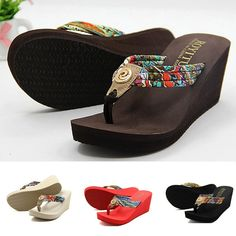 Women Summer Wedge Platform Thong Flip Flops Sandals Shoes Beach Casual Slippers