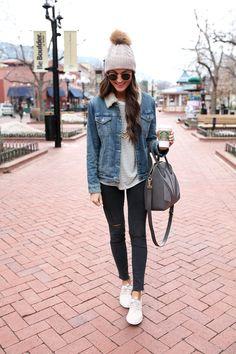 denim jacket / nike juvenate sneakers / winter fashion in boulder, colorado