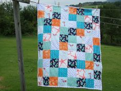 Mermaid Minky Quilt, Mermaid Patchwork Quilt, Modern Girl's Ocean Quilt, Modern Mermaid Quilt, Made to Order