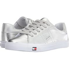 Tommy Hilfiger Luster (Silver) Women's Shoes (140 BRL) ❤ liked on Polyvore featuring shoes, silver, perforated shoes, silver shoes, long shoes, tommy hilfiger shoes and tommy hilfiger footwear