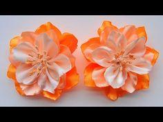 Цветы из лент своими руками / Ribbon Flower Tutorial / ✿ NataliDoma - YouTube