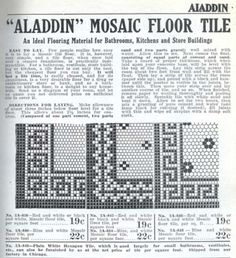 Mosaic floor tile from the 1916 Aladdin furnishing catalog.