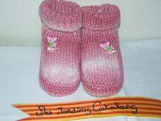Chaussons en Laine rose, pour le Canapé ou sous la Couette... : Chaussures par des-jardins-catalans