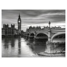 Art.com The House of Parliament and Westminster Bridge by Grant Rooney - Art Print, Black