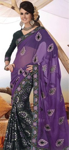 Chiffon Purple Dot Print with #Embroidery #Saree with Blouse Fabric - £88.00. For full product information, visit: http://www.reevaonline.co.uk/sarees/chiffon-purple-dot-print-with-embroidery-saree-with-blouse.html #chiffonsaree #purplesaree
