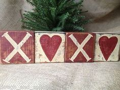 Set of 4 Primitive Valentine Shelf Sitter Wood Blocks Heart XOXO